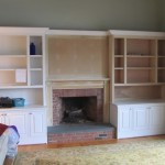 Fireplace Mantle and Flanking Bookcase