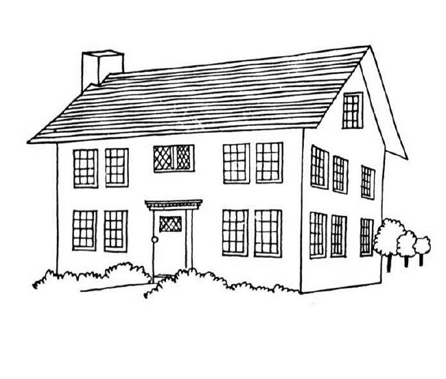 Coloring pages houses homes
