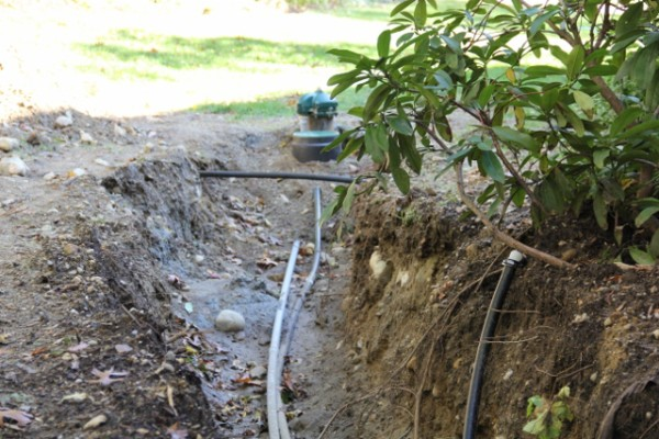 Irrigation well trench