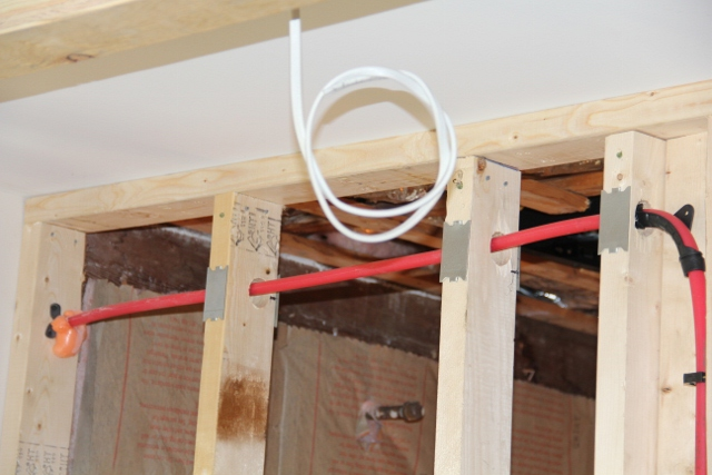 Installing a shower head in a cold exterior wall for Using pex for drain lines