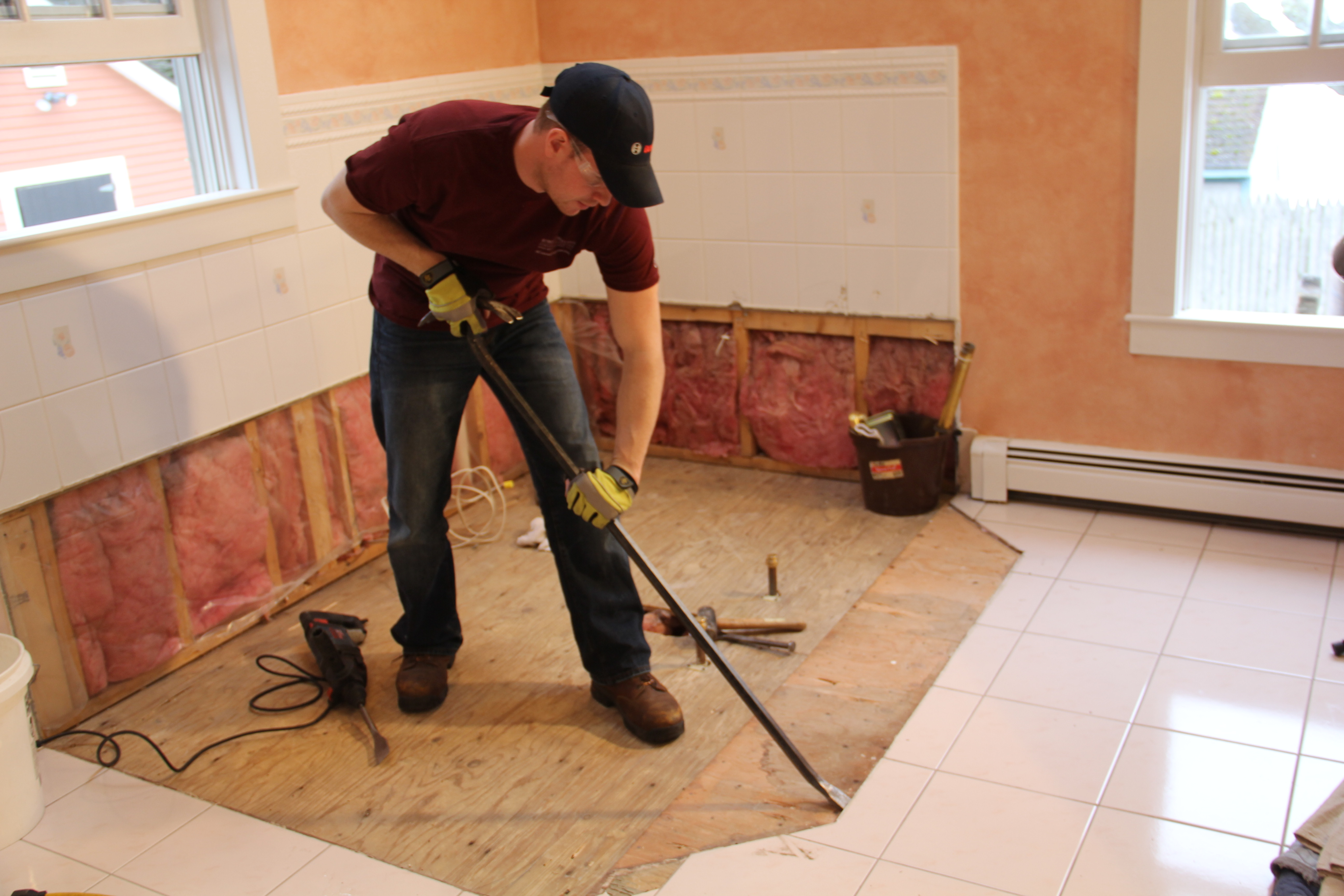 How To Remove A Tile Floor And Underlayment A Concord Carpenter - Best thinset for ceramic tile