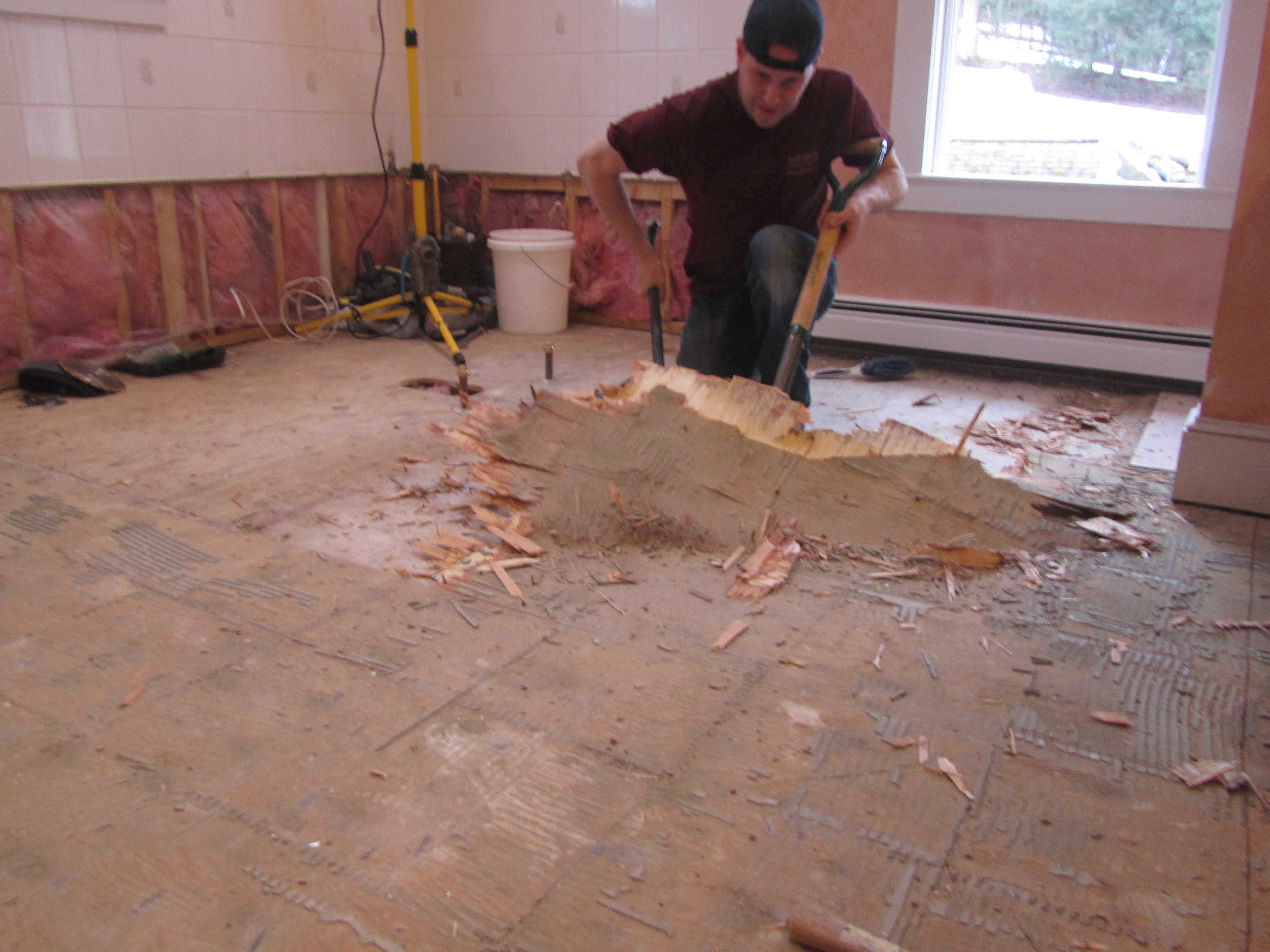 How to remove a tile floor and underlayment a concord for Preparing floor for vinyl