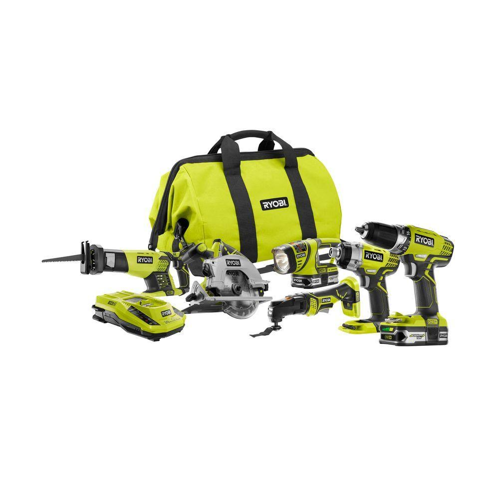 ryobi tool sets one 18 volt lithium ion ultimate combo kit a concord carpenter. Black Bedroom Furniture Sets. Home Design Ideas