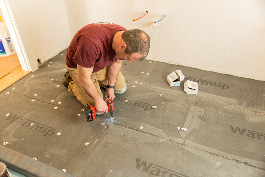 How to install in floor heating under tile