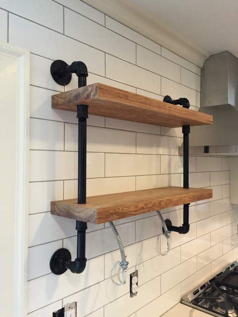 gas pipe wall shelf a concord carpenter. Black Bedroom Furniture Sets. Home Design Ideas